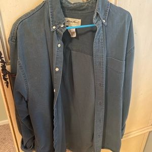 Edie Bauer oversized button down chambray shirt